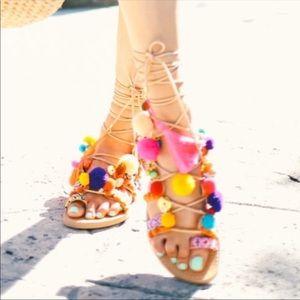 ASOS Pom Pom Charming Rainbow Gladiator Sandal 7